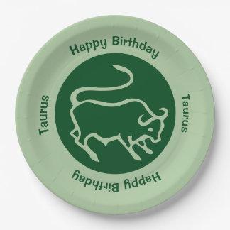 Taurus Zodiac Sign 9 Inch Paper Plate
