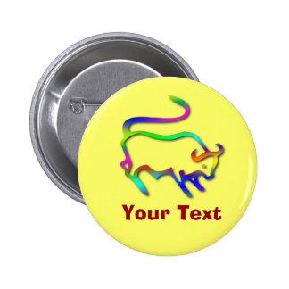 Taurus Zodiac Star Sign Color Line Badge Pin
