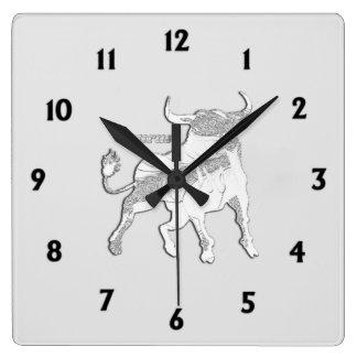 Taurus Zodiac Symbol Square Wall Clock