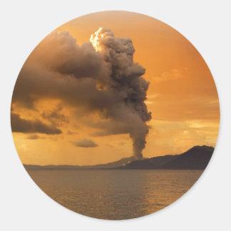 Tavurvur Volcano Rabaul Caldera Erupting Classic Round Sticker