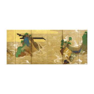 Tawaraya Sotatsu Waves at Matsushima Canvas Print