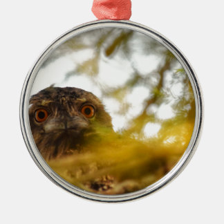 TAWNY FROGMOUTH OWL QUEENSLAND AUSTRALIA Silver-Colored ROUND ORNAMENT