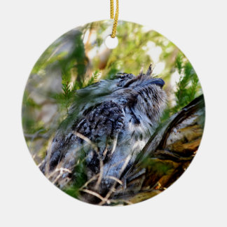 TAWNY FROGMOUTH RURAL QUEENSLAND AUSTRALIA ROUND CERAMIC ORNAMENT