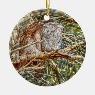 TAWNY FROGMOUTHS QUEENSLAND AUSTRALIA ART EFFECTS CERAMIC ORNAMENT