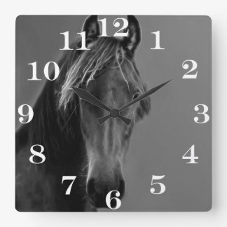 Tawny horse square wall clock