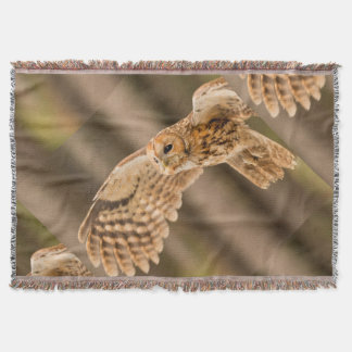 Tawny Owl in flight. Throw Blanket