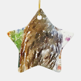 Tawny owl painted with watercolors ceramic star ornament