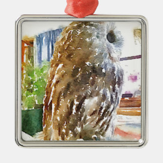 Tawny owl painted with watercolors Silver-Colored square ornament