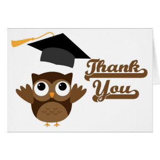 Tawny Owl Throwing Graduation Cap Thank You Card