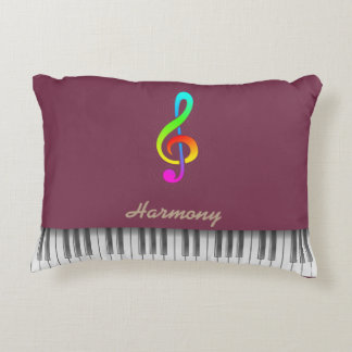 """Tawny port"" color & treble clef piano Accent Pillow"