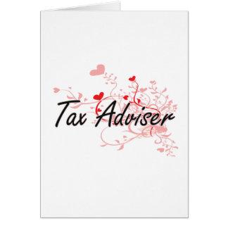 Tax Adviser Artistic Job Design with Hearts Card