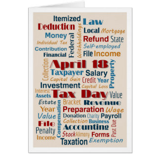 Tax Day April 18, 2017 Simple Neutral Clients Card