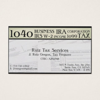 Tax Preparation Business Card