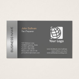 Tax preparer business cards business card printing zazzle ca tax preparer business card elegant grey border reheart Choice Image