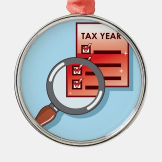 Tax Year Magnifying Glass Vector Zoom Metal Ornament