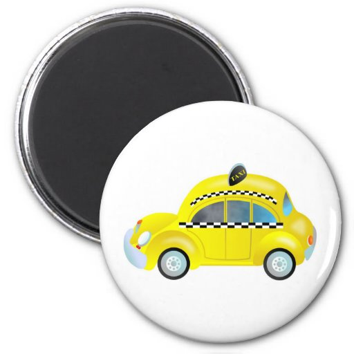 Taxi 2 Inch Round Magnet
