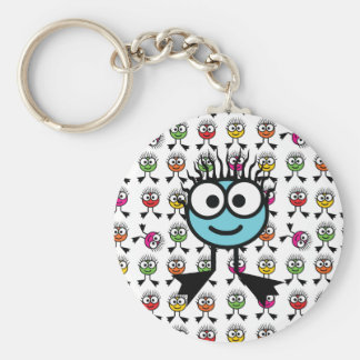 TAXI - Blue Swim Character Keyring Basic Round Button Keychain