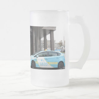 Taxi Cabs in Vilnius Lithuania Frosted Glass Beer Mug