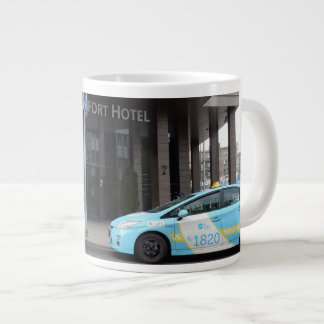 Taxi Cabs in Vilnius Lithuania Large Coffee Mug
