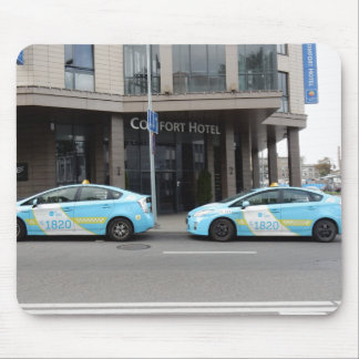 Taxi Cabs in Vilnius Lithuania Mouse Pad