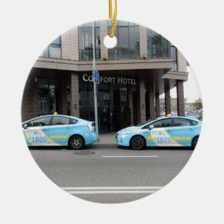 Taxi Cabs in Vilnius Lithuania Round Ceramic Ornament