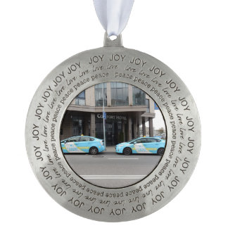 Taxi Cabs in Vilnius Lithuania Round Pewter Ornament