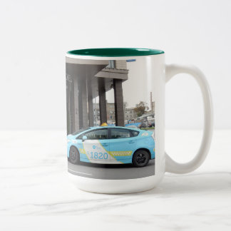 Taxi Cabs in Vilnius Lithuania Two-Tone Coffee Mug