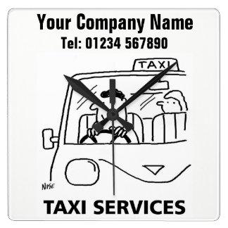 Taxi & Car Hire Services Cartoon Clock