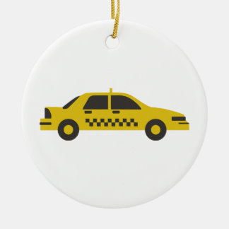 Taxi Ceramic Ornament