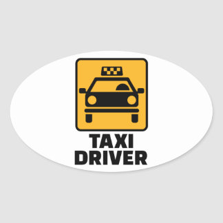Taxi driver oval sticker
