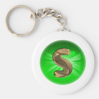 TAXI Gold Monogram S Green light Keychain