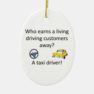 Taxi Joke Ceramic Oval Ornament
