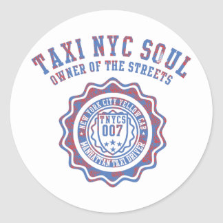 taxi nyc soul round sticker