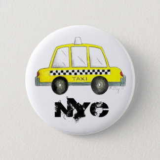 Taxi NYC Yellow New York City Checkered Cab Car 2 Inch Round Button