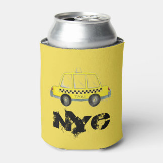 Taxi NYC Yellow New York City Checkered Cab Car Can Cooler