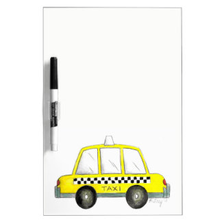 Taxi NYC Yellow New York City Checkered Cab Car Dry Erase Board