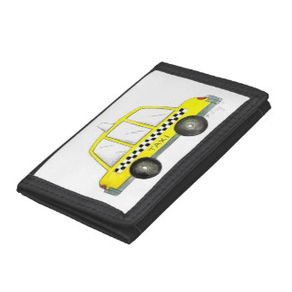 Taxi NYC Yellow New York City Checkered Cab Car Trifold Wallet