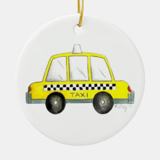Taxi NYC Yellow New York City Checkered Cab Gift Ceramic Ornament