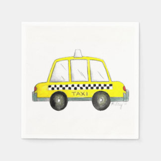 Taxi NYC Yellow New York City Checkered Cab Party Paper Napkin