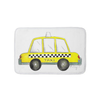 Taxi NYC Yellow New York City Checkered Cab Print Bath Mat