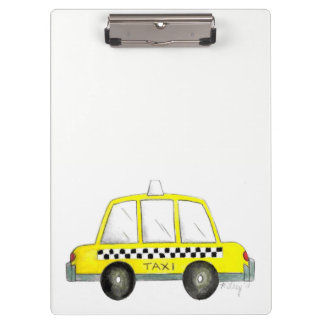 Taxi NYC Yellow New York City Checkered Cab Print Clipboard