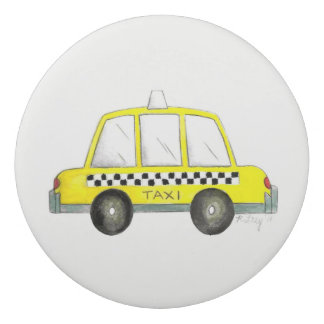 Taxi NYC Yellow New York City Checkered Cab Print Eraser