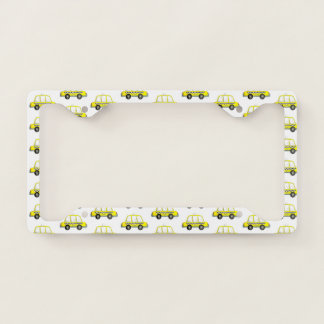 Taxi NYC Yellow New York City Checkered Cab Print License Plate Frame