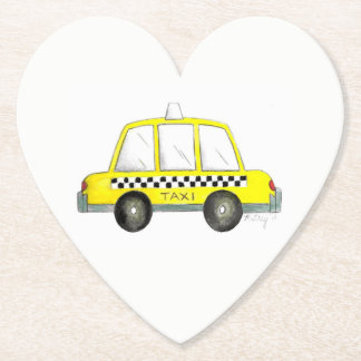 Taxi NYC Yellow New York City Checkered Cab Print Paper Coaster