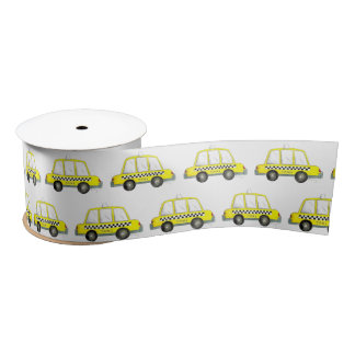 Taxi NYC Yellow New York City Checkered Cab Print Satin Ribbon