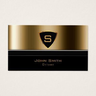Taxi Service Luxury Gold Monogram Driver Business Card