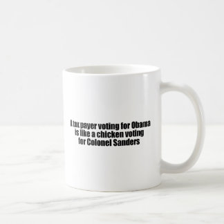Taxpayer voting for Obama is like a chicken Coffee Mug