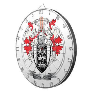 Taylor Family Crest Coat of Arms Dartboard