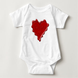 Taylor. Red heart wax seal with name Taylor Baby Bodysuit