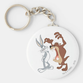 TAZ™ and BUGS BUNNY™ Not Even Flinching - Color Basic Round Button Keychain